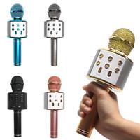 ingrosso lettore karaoke di usb-WS-858 Microfono senza fili Bluetooth Palmare portatile Karaoke Mic USB Mini casa KTV Per la musica che suona cantando Speaker Player per Smartphone