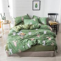 ingrosso biancheria da letto di lino verde-Home Textile Cactus Set biancheria da letto Green Bed Cover Bed Sheets Set Lino Copriletto Piante Biancheria da letto Kids Modern Semplice