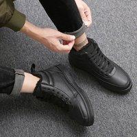 schwarze männer schuhe ohne schnürsenkel großhandel-Die vulkanisierten Schuhe der Art- und Weisemänner schwärzen hohe Spitzen-oben Winter-beiläufige Schuhe für Mann-Jungen-Turnschuhe ohne Spitze