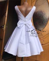 Wholesale off white simple dress for sale - Group buy Modest Plus Size Cheap Short Wedding Dresses A Line White Simple Satin Knot Bow Country Beach Bridal Gowns Vestido De Novia