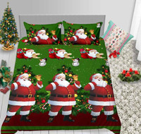 Wholesale white bedding for sale resale online - Simple Style Duvet Cover Set Christmas Festival Gift for Kids Bedspreads with Santa Claus Green of Bedding Cover Hot Sale