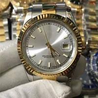 relógios de rosto branco para homens venda por atacado-6 cores relógios automáticos para mens luxo ouro pulseira de aço inoxidável marcas de homens relógio mecânico top safira 41mm 36mm preto branco rosto