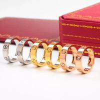 anel masculino de aço inoxidável venda por atacado-Anéis de amor de aço inoxidável clássico 6mm ouro subiu de prata de ouro cheia de Casamento anel de diamante para mulheres dos homens de noivado masculino feminino aliança