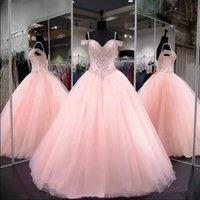 organza sequin rhinestone vestido de baile venda por atacado-2019 brilhando lantejoulas strass rosa vestidos quinceanera vestido de baile frisado doce 16 anos vestido de festa de baile vestidos de 15 anos qc1376