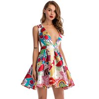 ingrosso elegante donna matura-Nuove donne di moda sexy stile maturo A-line Deep V Mini Vest Dress Vintage femminile elegante Short Beach Party Dresses