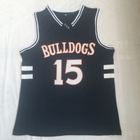 camiseta de camiseta de baloncesto al por mayor-Hombres J. Cole Bulldogs High School # 15 Cole jersey Jersey de bordado real Camisa Jersey de baloncesto de calidad superior al por mayor Tamaño S-2XL