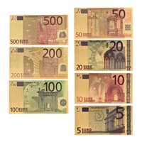 Wholesale fake money for sale - 7pcs set Color Euro Banknote Sets EUR K Gold Banknotes Currency Fake Money for Collection