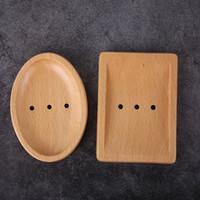 pratos japoneses venda por atacado-Pratos de Sabão De madeira Japonês Criativo Sabão Simples Titular Sabão De Madeira Natural Drain Pratos 2 Estilo HHA585