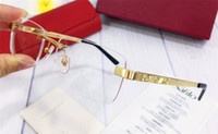 marcos gafas ligeras al por mayor-Gafas ópticas ultra ligeras con montura de montura de marco sin montura 18k chapadas en oro para hombres estilo de negocios de alta calidad con caja 3645635