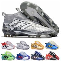 sağlam topraklarda futbol toptan satış-Ace 17 + Purecontrol Primeknit açık Futbol Cleats taquets Firma Zemin Cleats Eğitmenler FG NSG Erkek Futbol Çizmeler Futbol Ayakkabıları Altın