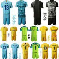 kit de portero jerseys al por mayor-19 20 niños de Barcelona Inicio fútbol ausente Jersey de los niños kits Niños camiseta de fútbol uniformes portero juvenil camisa ter Stegen neto de fútbol