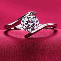925 14k weißgold ring großhandel-Zirkonia diamant Verlobungsringe Für Frauen weiß gold 925 Sterling Silber CZ Stein frauen ring Hochzeit Schmuck Großhandel