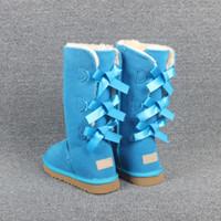 bota de navidad de calidad al por mayor-2020 Estilo Bailey navidad nuevo Designe Australia Classic nieve de las mujeres botas de invierno de alta calidad de 3 Bowtie zapatos de invierno botines altos de la nieve de las mujeres