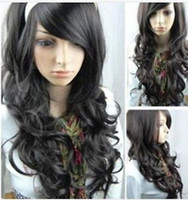 Wholesale life wigs resale online - express delivery arrive to USA Daily Life Dress Cosplay Black Long Curly Bangs Synthesis Women Hair Full Wig