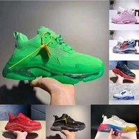 sapatos de lazer casual venda por atacado-Mulheres Homens de Luxo Pai Sapatos Casuais de Cristal Inferior Triple-S Sapatos de Lazer Tênis para Homens Do Vintage Vovô Antigo Trainer chaussures COM CAIXA