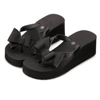 дамские высокие триггерные платформы оптовых-Fashion Women Sandals High Flat Heel Platform Wedge Bohemian Slippers Fabala Ladies Flip Flops Bowknot Holiday