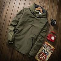 taktik rüzgarlık toptan satış-Casual Erkekler Hoodies Sonbahar Katı Ordu Yeşil Siyah Bombacı Ceket Moda Fermuar Kapüşonlu Rüzgarlık Taktik Erkek Hoody Kazak