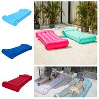 asientos inflables al por mayor-Colchón de aire caliente al aire libre portátil colchón inflable de agua colchón de viaje cama de viaje cubierta del asiento trasero del coche cama de la piscina inflable T2I5176