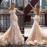 playa vestidos de novia tren champagne al por mayor-Milla Nova Champagne Mermaid Wedding Dresses Apliques de encaje Cuello escarpado Vestidos de novia Beach Sweep Train Wedding Dress 3871