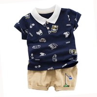 Wholesale t shirt kids cartoon cars for sale - Group buy Kids Cotton Clothing Summer Baby Boys Short Sleeve Cartoon Car Print Tops Blouse T shirt Shorts Children Casual Outfits Sets G