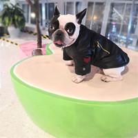 Fashion Leather Dog Outerwears Red Plaid Dog Coat Popular Zipper Pet Jacket PU Teddy French bulldog Apparel Street Coat