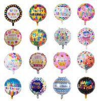 çocuk balonları toptan satış-50 Adet / grup Mix Tasarım Mutlu Doğum Günü Balon Çocuklar Için 18 Inç Şişme Kabarcık Alüminyum Folyo Balonlar Doğum Günü Partisi Süslemeleri Balonlar