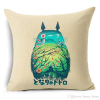 Wholesale comic pillow cases for sale - Group buy Totoro Cushion Cover Colorful Creative Totoro Skull Throw Pillow Case Hayao Miyazaki Comics Cushion Cover for Sofa Decor