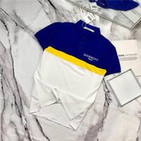 gelbe poloshirts männer großhandel-19ss Paris geben Polo Freizeit T-Shirt T-Shirt atmungsaktiv Kurzarm Mode blau gelb Stitching Männer Frauen Casual Outdoor Streetwear T-Shirts