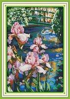 ingrosso arredamento piscina-Iris piscina Swan lago room decor pittura, fatto a mano ricamo a punto croce ricamo contato stampa su tela DMC 14CT / 11CT