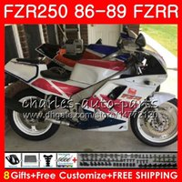 yamaha fzr al por mayor-Cuerpo para YAMAHA FZR250R FZRR FZR 250R FZR250 venta caliente blanco 86 87 88 89 123HM.24 FZR250RR FZR 250 FZR-250 1986 1987 1988 1989 Kit carenado