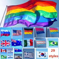 gökkuşağı tasarımları toptan satış-3 * 5ft 90 * 150 cm Gökkuşağı Bayrakları Ve Pankartlar Lezbiyen Gay Pride LGBT Bayrak Polyester Dekorasyon Için Renkli Bayrak 26 Tasarım WX9-216