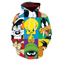 colete zip homens venda por atacado-Novo cartoon looney tunes 3d impressão colete / camiseta / moletom / zip hoodies / calças moda homens harajuku engraçado streetwear hiphop casacos