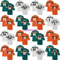 fútbol de rock al por mayor-2019 NCAA Football Miami Hurricanes 94 THE ROCK 35 Vernon 46 Walford 1 Walton 87 Wayne Jerseys