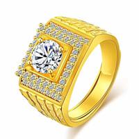 кельтские пары ювелирные изделия оптовых-Мужские кольца проложили Циркон 18k желтое золото заполнены классический палец группа кольцо размер отрегулировать аксессуары груза падения