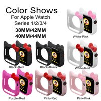 Wholesale cute girls watches resale online - Cute Cat Silicone Case for Apple Watch Series Band for iWatch mm mm mm mm Kid Girl