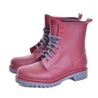 221c49fec1a03 VOILE LU Femmes Rainboots 2019 Plate-forme Chaussures Femme Plaine Plat En Caoutchouc  Bottines Étanche À Lacets Taille Plus 36-41 XWX3792