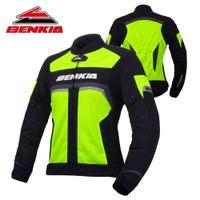 malla de montar chaquetas de moto al por mayor-BENKIA Chaqueta de moto Motocross Moto Biker Jacket Spring Summer Mesh Riding Denim para mujer Moto Protection JS-W35