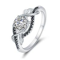 ingrosso le pietre nere squillano le donne-Trendy 3,5 gram 100% autentico 925 gioielli in argento sterling nero anelli di nozze in pietra bianca per le donne designer anelli
