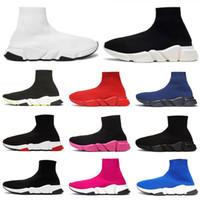 calcetines de moda para hombres al por mayor-Balenciaga Zapatillas de diseñador Zapatillas Speed Trainer Hombres Mujer Negro Blanco Rojo Runner sneakers Socks Zapatillas de deporte Zapatos de plataforma