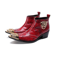 sapatas da altura dos homens s venda por atacado-Novos Homens de Couro Genuíno de Inverno Apontou Toe Sapatos de Vestido Botas de Altura Inaugurada dos homens Sapatos de Salto Alto