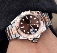 relojes análogos automáticos para hombre al por mayor-Relojes para hombre reloj de pulsera con movimiento automático 40mm reloj de acero inoxidable analógico de forma redonda reloj negro con fecha grande