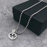boho silver necklaces großhandel-Anhänger 925 sterling silber lange runde choker halsketten für frauen hochzeit schmuck geschenk boho gg halskette luxus designer marke