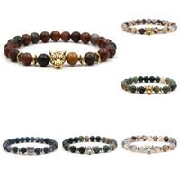leopard achat groihandel-Tigerauge Stein Armband Indien Achat verwitterte Achat Perlen Armbänder Löwe Leopard Armband