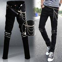 ingrosso jeans neri per i ragazzi-Mens roccia punk jeans neri Lap Hip Rivet Slim Fit Biker denim dei pantaloni dei ragazzi DJ Palcoscenico Strappato Skinny Jeans con cintura di Catene