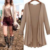 große frauenblusen großhandel-2019 NEUE Frauen Mode Baumwolle Top Dünne Bluse Langarm Sommer Strickjacke Mantel Top Big Size Volant Plus Größe