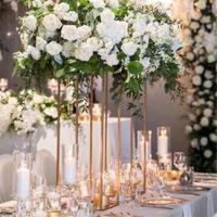 düğün organizasyonları toptan satış-10 ADET Zemin Vazolar Altın Çiçek Vazo Sütun Standı Metal Yol Kurşun Düğün Centerpieces Raf Olay Parti Noel Dekorasyon