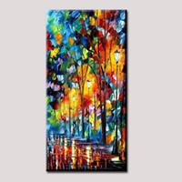 ingrosso albero di arte astratta dipinti ad olio-Dipinti a mano di arte della parete Moderne pitture ad olio astratte Rain Tree Road Colorful spatola coltello olio su tela per soggiorno Home Decori