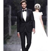 i̇talyan groomsmen smokin toptan satış-Siyah Groomsmen Mens Düğün için Suits 2 Parça İtalyan Damat Takım Elbise Slim Fit Özel Adam Düğün Smokin Takım Elbise