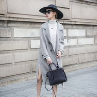 neue frauen kaschmir mantel großhandel-Titotato New Jacket Damen Blend Coat V-Ausschnitt Doppelseitiger Wollmantel Wollmantel Winter Long Solid Cashmere Zweireiher Cape