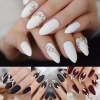 Wholesale almond nails resale online - 3D Bling Gems Glitter Stiletto Matte False Nail Almond Nail Art Tips AB Rhinestones Frosted Fake Nails Press on Daily Wear